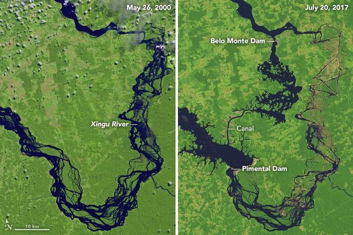 Rio Xingu antes e depois da construção do complexo hidrelétrico Belo Monte