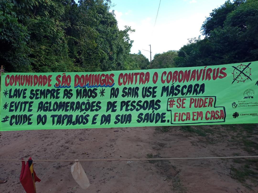 Projeto socioambiental entrega faixas educativas sobre o combate ao coronavírus na Flona Tapajós