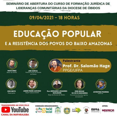 Seminário sobre Educação Popular abre formação jurídica para lideranças de movimentos sociais do Oeste do Pará